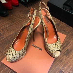 Missoni Slingback Peep Toe Heels